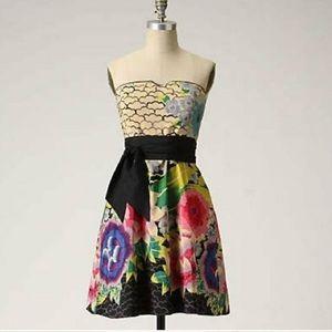 Anthropologie Painted Lotus strapless mini dress